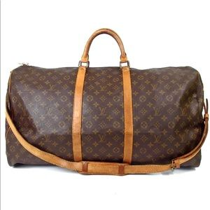 Auth Louis Vuitton Keepall 60 Bandouliere L18TR205